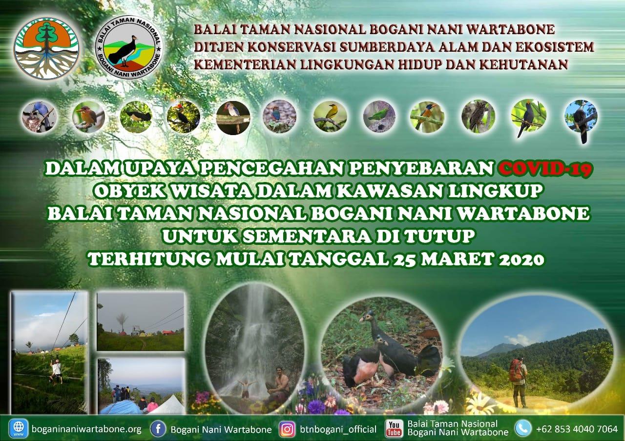 Penutupan Obyek Wisata di Kawasan TN Bogani Nani Wartabone